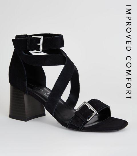 1523db1c4a09 ... Black Suede Strappy Block Heel Sandals ...