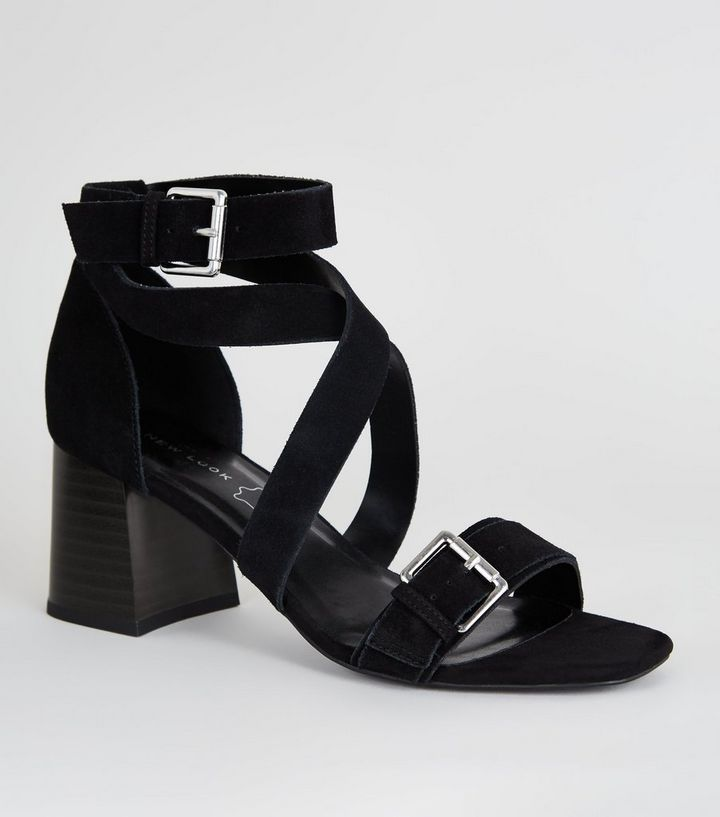 5a7906d7e87 Black Suede Strappy Block Heel Sandals Add to Saved Items Remove from Saved  Items