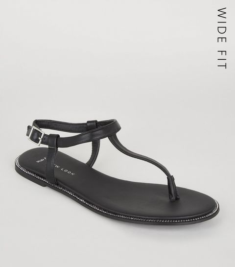 91022e56787825 ... Wide Fit Black Leather-Look Diamanté Sandals ...