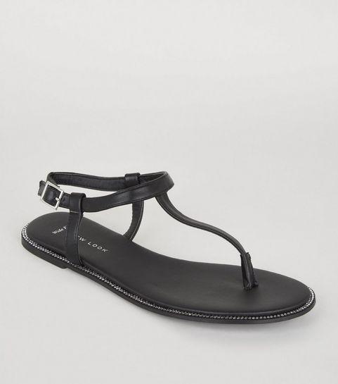 6907c1aa745 ... Wide Fit Black Leather-Look Diamanté Sandals ...