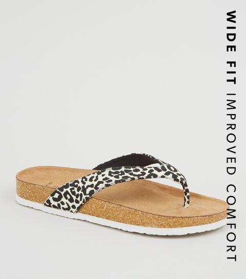 d6dda494cdf ... Wide Fit Stone Leopard Print Sliders ...