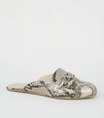 Wide Fit Stone Faux Snake Mule Loafers
