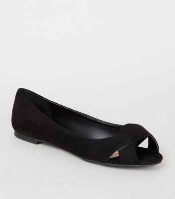 Wide Fit Black Suedette Twist Pumps by New Look