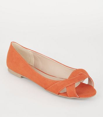 Wide Fit - Ballerines en suédine orange à détail torsadé