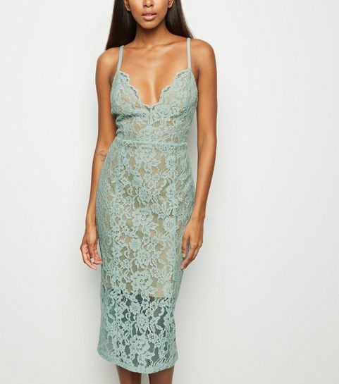 ed91ec767547 ... Mint Green Lace Scallop Neck Midi Dress ...