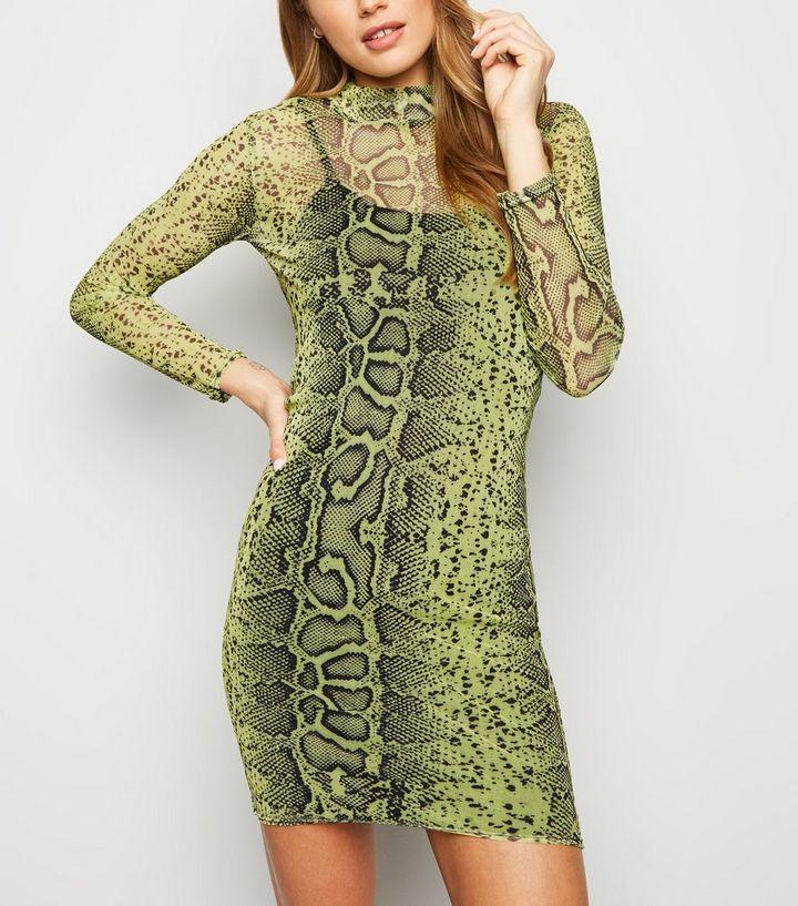 71010fc179b6 ... Green Neon Snake Print Mesh Bodycon Dress. ×. ×. ×. Shop the look