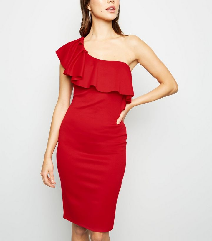 7bc3851d28 Red One Shoulder Ruffle Bodycon Dress | New Look