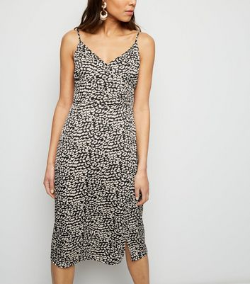 Black Satin Leopard Print Midi Dress
