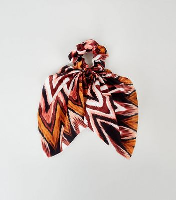 Multicoloured Zig Zag Bow Scrunchie
