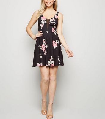 Black Floral Mesh Insert Skater Dress