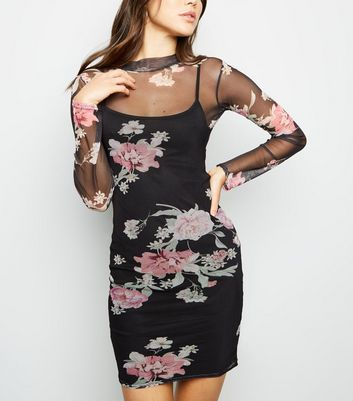 Black Floral Mesh High Neck Bodycon Dress