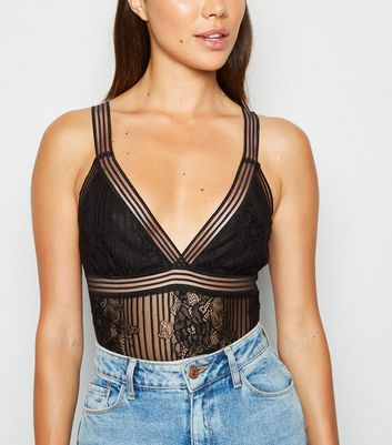 Black Lace Stripe Strappy Bodysuit by New Look