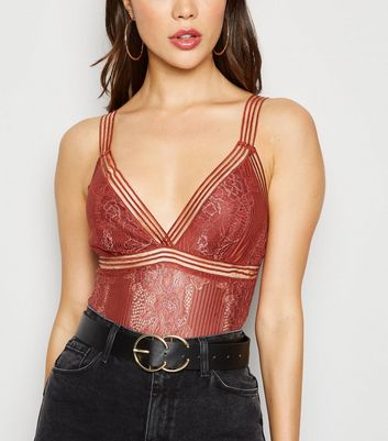 Rust Lace Strappy Bodysuit