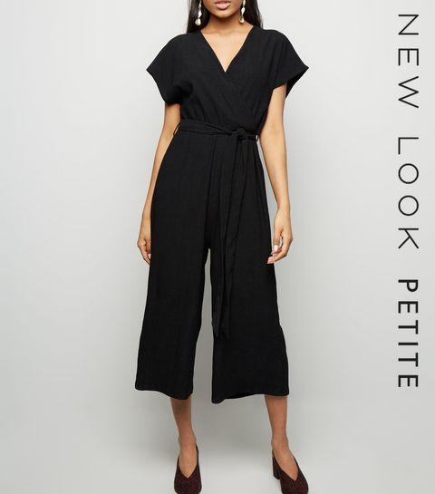 c5071a775b0 Petite Black Crinkle Wrap Jumpsuit · Petite Black Crinkle Wrap Jumpsuit ...
