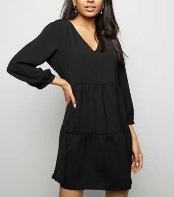 Petite Black Herringbone Smock Dress