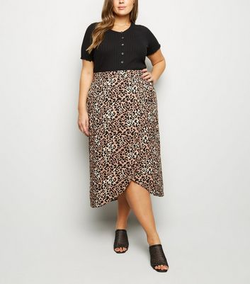 Curves Brown Animal Wrap Front Midi Skirt