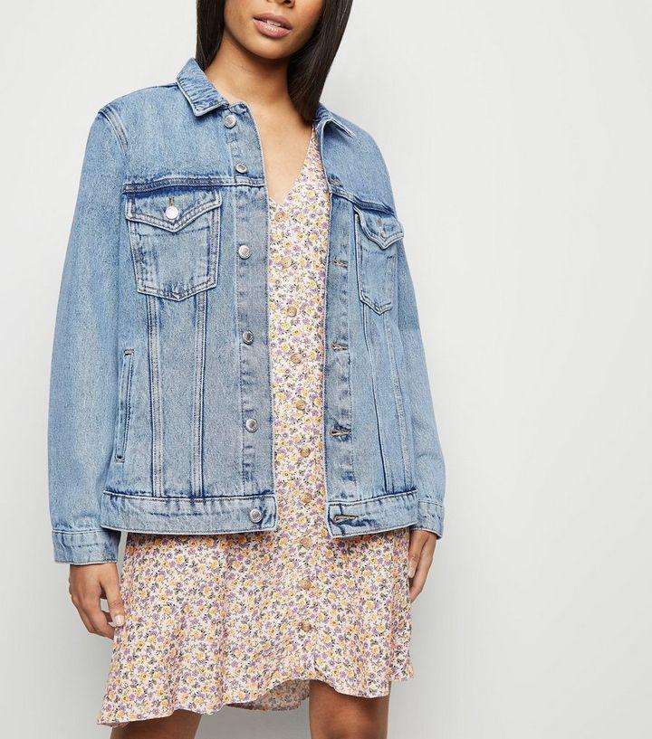 46c4f6a8590a4 Petite Blue Acid Wash Oversized Denim Jacket | New Look