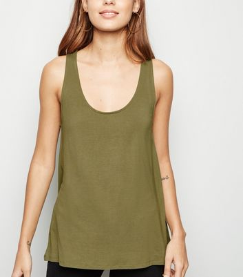 Khaki Scoop Neck Vest
