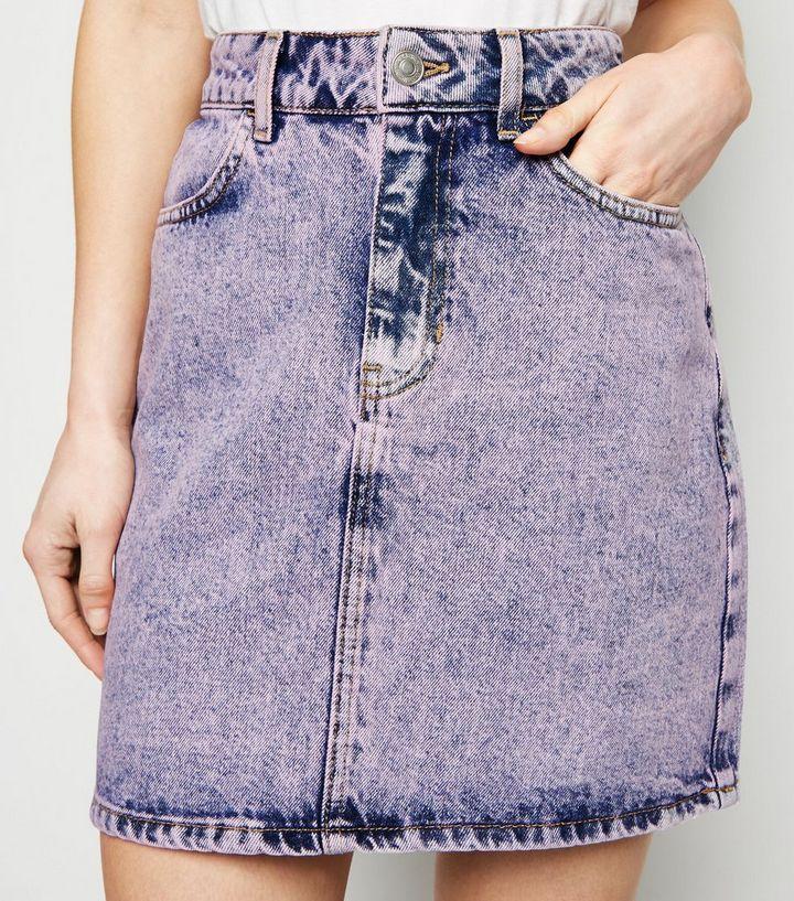 653175cad1 Petite Purple Acid Wash Denim Skirt | New Look