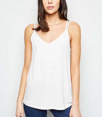 Off White Cross Back Cami
