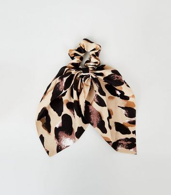 Brown Leopard Print Bow Scrunchie