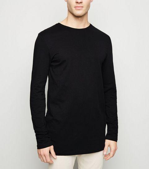 ... Black Long Sleeve Longline T-Shirt ... bbaef8c6fd8