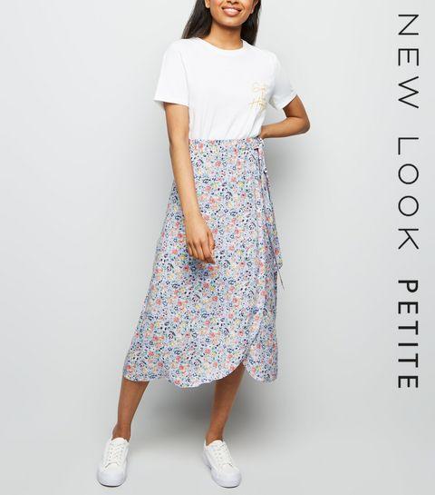 3eb80eca9b8 ... Petite Purple Floral Wrap Midi Skirt ...