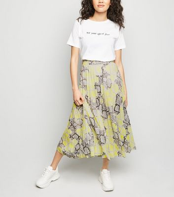 Petite Yellow Neon Snake Print Pleated Midi Skirt