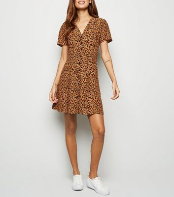 Brown Leopard Print Button Up Tea Dress