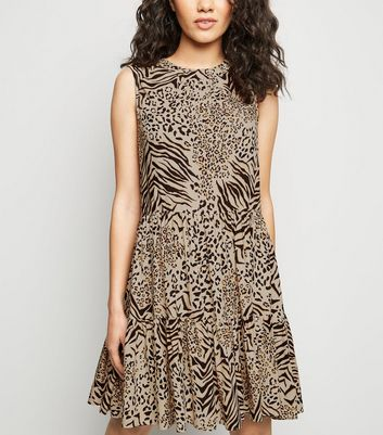Petite Brown Mixed Animal Print Smock Dress