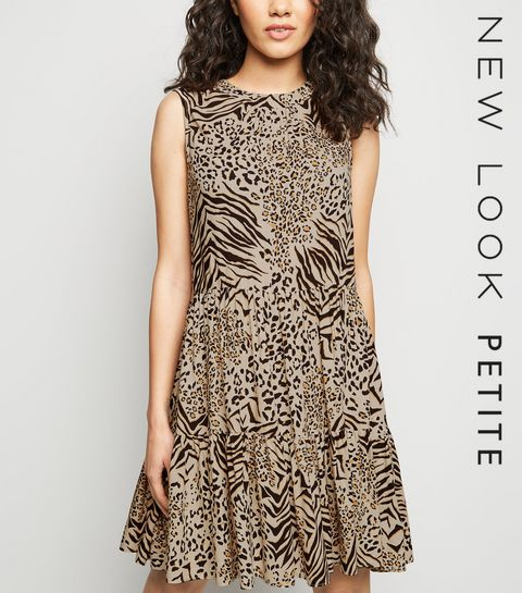 8cf38f46a352 ... Petite Brown Mixed Animal Print Smock Dress ...