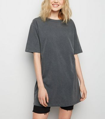 Tall Grey Acid Wash Oversized T-Shirt