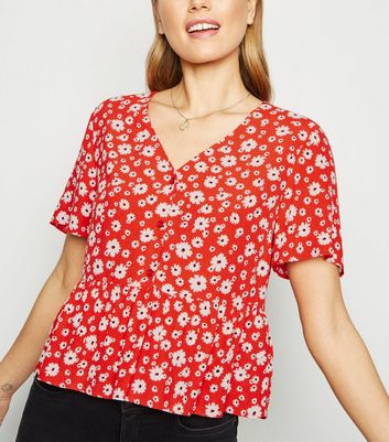 Red Floral V Neck Button Up Shirt