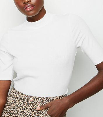 Tall White Funnel Neck Half Sleeve Top