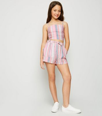 Girls Pink Stripe Linen Blend Shorts