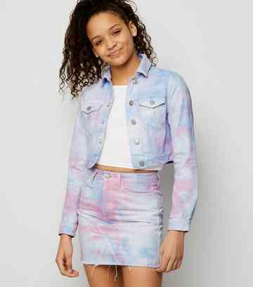 Girls Multicoloured Tie Dye Denim Skirt