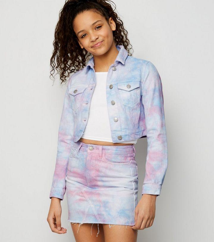 a9b54c97ae Girls Multicoloured Tie Dye Denim Skirt | New Look