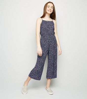 Girls Black Floral Lattice Front Jumpsuit