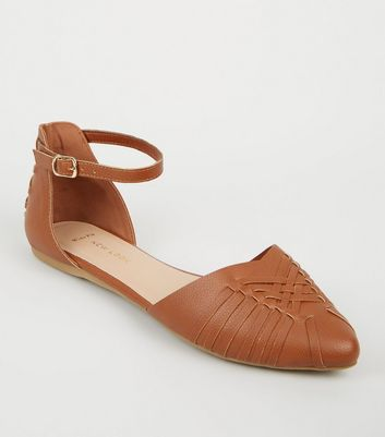 Wide Fit Tan Leather-look Woven Pumps