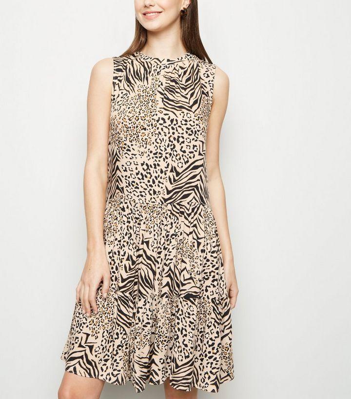 c40f1a098defa1 Tall Brown Animal Print Tiered Smock Dress