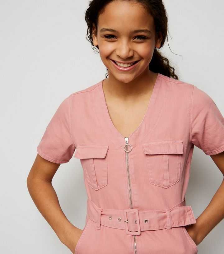 946d8b89a98 ... Girls Pink Utility Zip Front Playsuit. ×. ×. ×. Shop the look