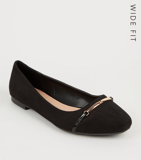 3b2cc0ce7ae1 ... Wide Fit Black Bar Front Ballet Pumps ...