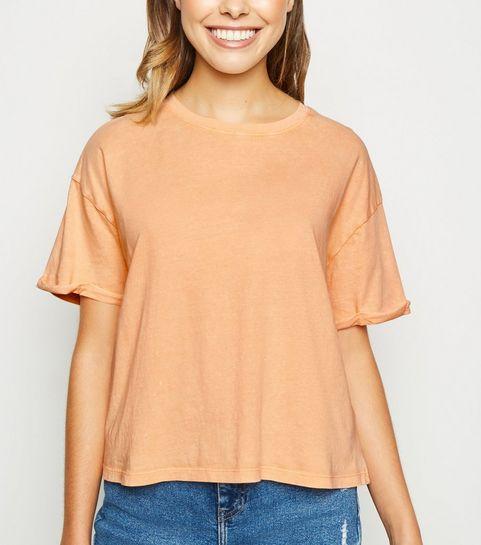 85494940939d3 ... Coral Acid Wash Crop T-Shirt ...