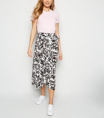 Tall White Zebra Wrap Midi Skirt