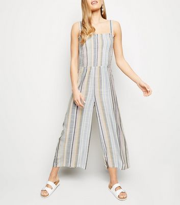Tall Multicoloured Stripe Shirred Jumpsuit