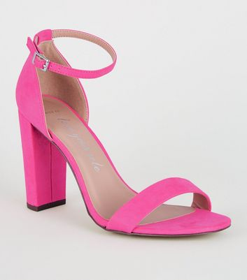 Wide Fit Bright Pink Suedette Block Heel Sandals