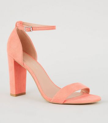 Wide Fit Coral Suedette Block Heel Sandals