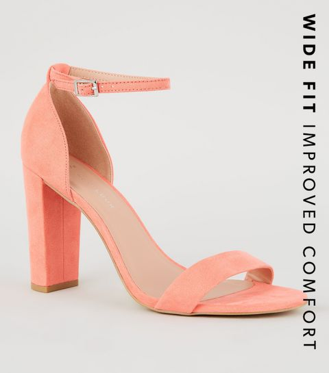new concept 86f7b 28d65 ... Wide Fit Coral Suedette Block Heel Sandals ...