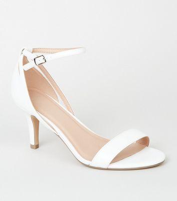 Wide Fit White Stiletto Heel 2 Part