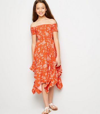 Girls Red Tropical Floral Hanky Hem Dress